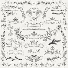 手描き黒落書きは芸術的なデザイン要素です装飾花の冠仕切り枝まんじ花輪ヴィンテージ手はベ