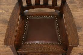 arts crafts mission oak rocking chair craftsman 1905 antique leather seat