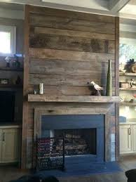 Reclaimed wood fireplace... it would be easy to cover the ugly brick with  this and cheap but beautiful!! | rental house | Pinterest | Reclaimed wood  ...