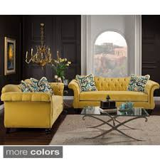 tufted furniture trend. Furniture Of America Agatha 2-piece Tufted Velvet And Hardwood Sofa Loveseat Set Trend E