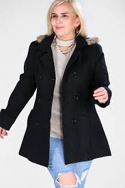 image plus size faux fur trim hooded coat in black