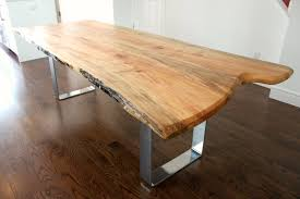 live edge salvaged maple dining table custom metal legs chrome modern  design on