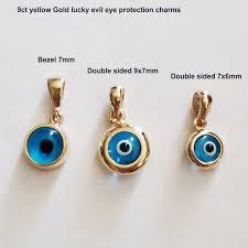 9ct yellow gold evil eye pendant charm