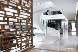 Impressive spiral staircase in modern mansion