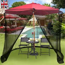 umbrella mosquito net in garden patio