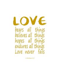 Ours Amour Toutes Choses Cadeau De Mariage Lamour Ne Périt Jamais 1 Corinthiens 137 Bible Verset Wall Art Cadeau Danniversaire Amour