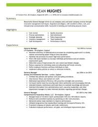 Resume Templates General Manager Hotel Exceptional Retail Objective