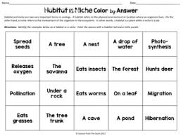 habitat and niche activity sheet answers habitat vs niche color by answer worksheet for review or assessment