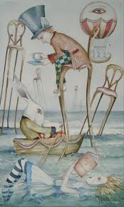 best images about alice alice in wonderland mad dominic murphy art original painting alice in wonderland surreal a mad sea party in art direct from the artist paintings