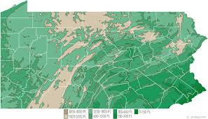 Elevation Chart Us Pennsylvania Physical Map And Pennsylvania Topographic Map