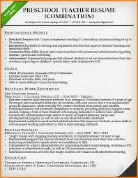 Resume Format For Teacher Preschool Teacher Resume Sample Jpg The