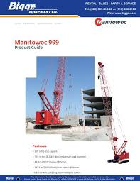 Manitowoc 999 Load Chart Manitowoc 999 Product Guide