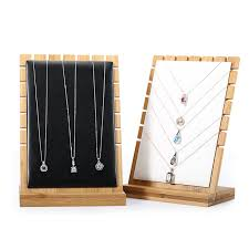 Long Necklace Display Stand Bamboo Wood Pendant Necklace Display Holder Jewelry Display Stand 86