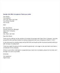 Thank You Letter After Offer Amazing Job Offer Acceptance Letter Template Saimarashid