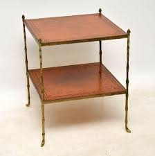 antique brass and leather coffee table side table