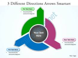 ppt smart art 3 different directions arrows smartart powerpoint slides templates