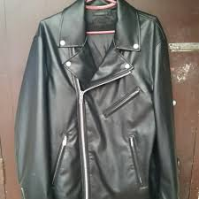 uniqlo faux leather double ted jacket men s fashion clothes on carou
