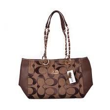 Coach Logo Monogram Large Coffee Shoulder Bags DOZ