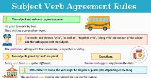 Singular And Plural Verbs Chart Subject Verb Agreement Rules And Examples 7 E S L