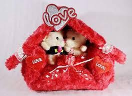love hut with couple teddy bears