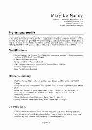 Resume Profile Example New Resume Sample For A Caregiver Nanny