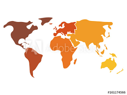 Multicolored World Map Divided To Six Continents In