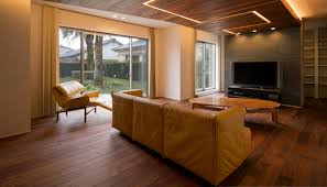 living room with false ceiling in wood