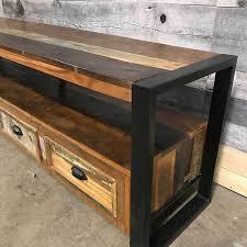 industrial metal and wood furniture. Metal And Wood Long Tv Made From Industrial Furniture