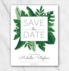 Tropical Green Wedding Save The Date Template Temploola Com
