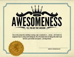 Certificate Of Awesomeness Template Funny Certificates Tirevi Fontanacountryinn Com