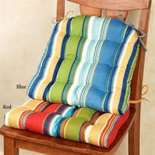 the westport striped chair cushion set is fun bright and reversible indoor outdoor polyester chair cushions have attached triple sched ties
