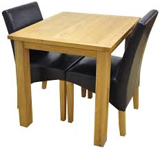 weston oak small fixed top table 2 york brown chairs dining set
