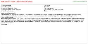 Night Auditor Cover Letter Night Clerk Auditor Job Cover Letter