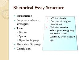 "response essay type rhetorical analysis rhetoric ""the art of  11 rhetorical essay structure introduction purpose audience strategies tone ◦ diction ◦ syntax ◦ figurative language rhetorical strategy conclusion"