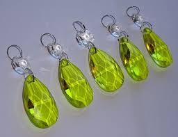 5 lime gold green chandelier drops glass crystals droplets oval facet beads prisms vintage tree wedding decorations crafts parts