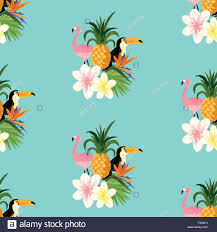 pineapple and flamingo background. seamless tropical theme background with a toucan, flamingo, and floral flowers. scaleable vector illustration. pineapple flamingo