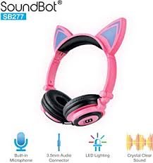 SoundBot SB277 Flashing Glowing <b>LED</b> Cat <b>Ear Fordable</b> Wired ...