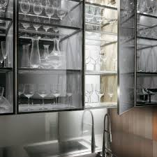 Modern Kitchen Wall Cabinets Transparent Glass Cabinet With A Kitchen Faucet In A Natural