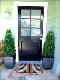 front doors with glass panels black wooden entry door glass panel combined potted plants brown striped