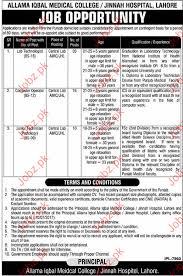 Lab Technologist Jobs In Allama Iqbal Medical College 2018 Jobs Pakistan