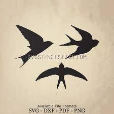 svg swallow bird stencil silhouette