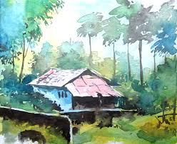 Simple Painting Simple Landscape Painting Watercolor Painting For Beginners