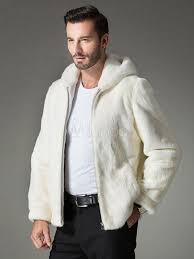 white fur coat hooded zipper faux fur slim fit er jacket for men no