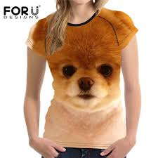 Us 12 87 44 Off Forudesigns Cute 3d Dog Boos Pomeranian Women T Shirt Tee Tops Female Casual Basic Short T For Girl Feminina Brand Clothes Shirt In
