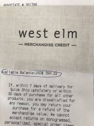 west elm pottery barn williams sonoma merchandise credit gift card