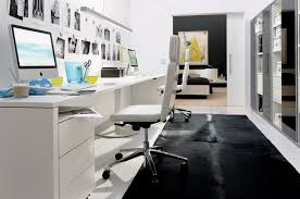 appealing design home office desk ideas with long white computer desk and wheeled storage drawers also wheeled chairs and black fur rug with build your own cheerful home office rug