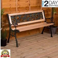 outdoor 3 seater garden steel wooden