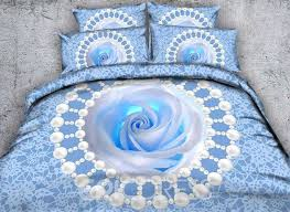 vivilinen 3d blue rose and pearls printed cotton 4 piece bedding sets duvet covers
