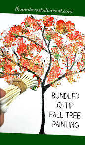 Easy Bundled Q-tip stamped tree paintings for every season. Winter, spring,  summer and fall arts and craft project for kids.