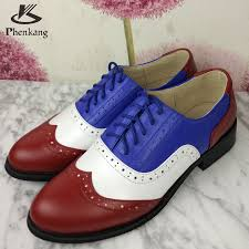 genuine leather woman vintage flat shoes round toe handmade red white blue oxford shoes for women fur
